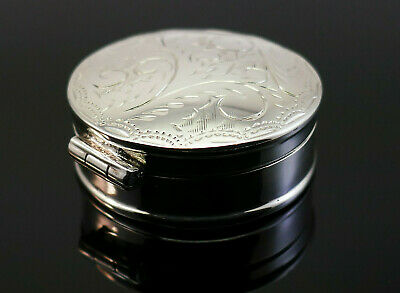Finely Crafted Engraved Solid Sterling Silver Circular Pill Or Trinket Box