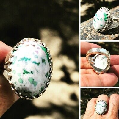 Turqouseخاتم فيروز افغانني ملون Afghanistan Multi color stone 925Silver man ring