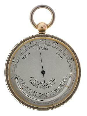 Gilt brass English pocket aneroid barometer & thermometer working