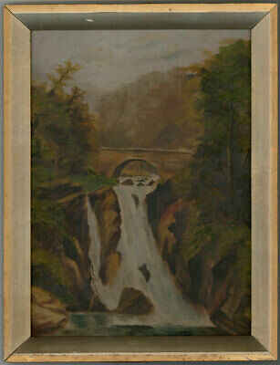 Early 19th Century Oil - Autumnal Waterfall with Bridge