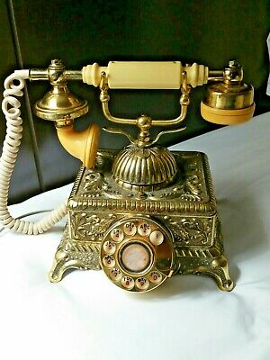 Vintage Brass & Gold Plated Victorian French Style Ornate Rotary Phone Desk