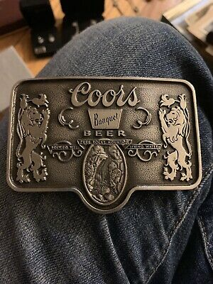 Vintage Coors Beer Belt Buckle And Lighter Set-Banquet Coors Light Adolph Coors