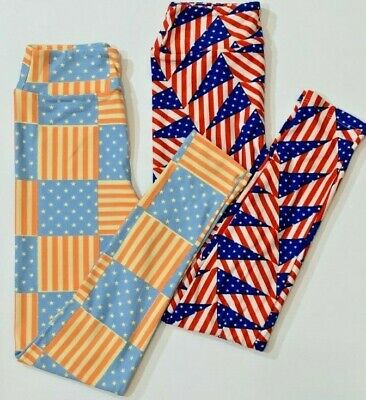 Lularoe Tween Leggings Lot of 2 USA American Flag Red White and Blue NWT