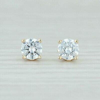 350646918 CZ Stud Earrings - 14k Yellow Gold Round Cubic Zirconia Solitaires Pierced