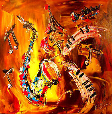 JAZZ MUSIC  Modern Abstract Painting Original STRETCHED Canvas   Impressionist