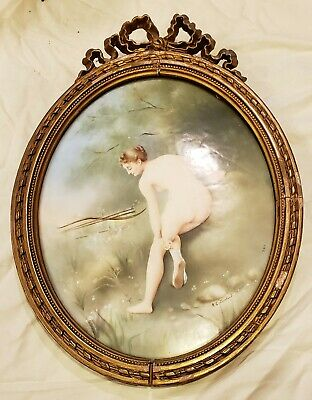 Hand Painted Portrait on Porcelain  Wood Nymph Nude Oval Plaque Signed Loveland