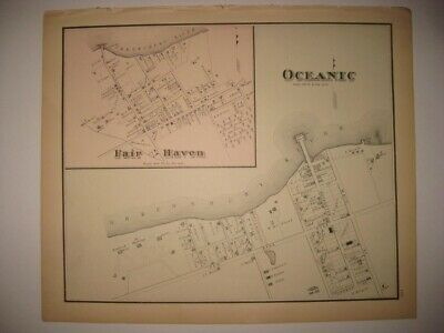 Superb Antique 1878 Fair Haven Rumson New Jersey Handcolored Map Monmouth County