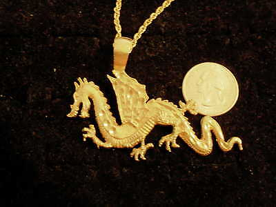 bling gold plated FOLKLORE MYTH CELTIC dragon pendant charm necklace JEWELRY GP