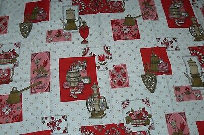Vintage Cotton Material Fabric Remnant Kitchen Print Pinks and Reds 36x65