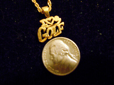 bling gold plated CLUB I HEART GOLF PENDANT charm chain hip hop necklace JEWELRY