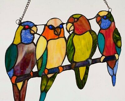 """Stained Glass 4 Four Parrot Sun-catcher (Real Glass) 15"""" x 10"""""""