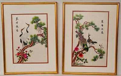 PAIR of Silk Embroidery Framed Asian Chinese Bird Figurative Picture Gold Frames