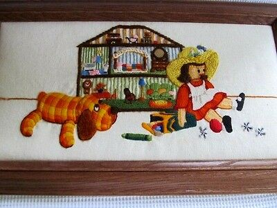 Crewel Embroidery Framed Art 3D Dog Doll Dollhouse 24x14 Finished Vintage