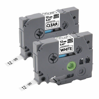 """2PK TZ231 TZ131 Compatible/Brother 0.47"""" Black on White/Clear Label Tape P-Touch"""