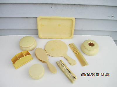 9pc Celluloid Vanity Set Mirror Receiver Brush Powder Comb Tray Caddy Pyralin