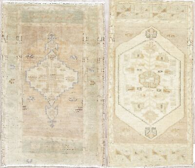 Set of 2 Geometric Tribal Muted Oushak Turkish Hand-Knotted 2'x3' Gold Wool Rug