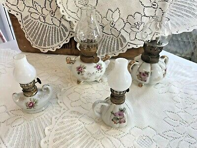 Miniature china  Oil Lamps, 2 small with white glass 2 x large with clear glass