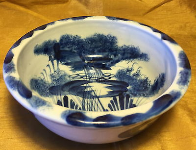 "Antique 19th c. 6.5"" Japanese Blue/White Porcelain Bowl w Waterfall Stream Scene"