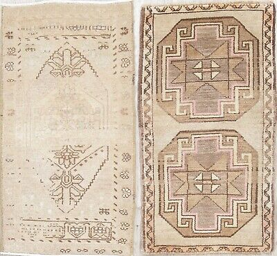 Pack of 2 Antique Muted Oushak Turkish Hand-Knotted 2'x3' Distressed Wool Rug