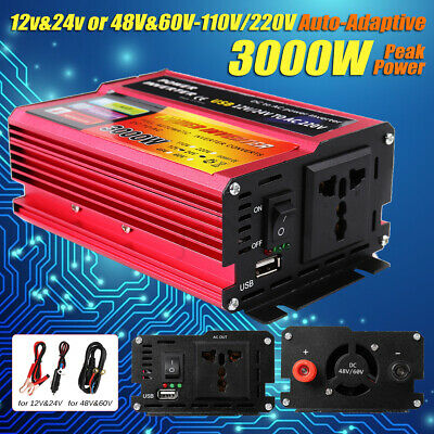 3000W Car Solar Power Inverter DC12/24/48V To AC110/220V Sine Wave Converter