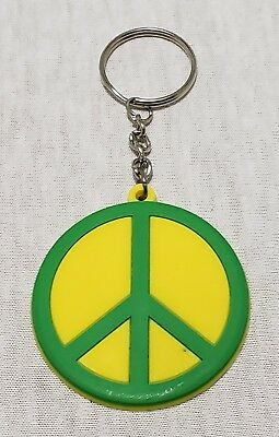 Vintage Peace Sign Keychain Hippie Keyring Novelty Colorful Green Yellow Large