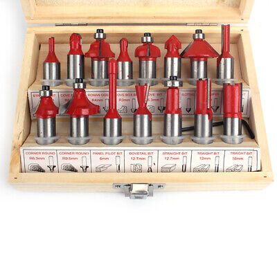 """15Pcs Tipped Router Bit Set 1/2"""" inch Shank Woodworking Rotary Tools With Case"""