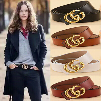 Ladies Genuine Leather Belts Jeans Belt With Letter GG Buckle 2.3-3.8cm Fashion
