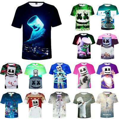 42879e9a9 Kids Boys Marshmello T-shirt DJ Mask Music Short Sleeve T Shirt 3D Printing  Tops