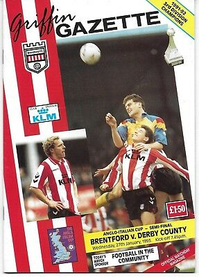 Football Programme>BRENTFORD v DERBY COUNTY Jan 1993 Anglo Italian Cup SF