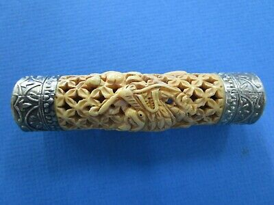 CHINESE HAND CARVED / ETCHED Bovine BONE ,  DRAGON CRICKET CAGE