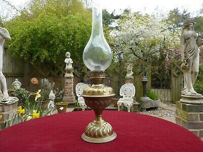 Victorian Brass Base And Font Oil Lamp.