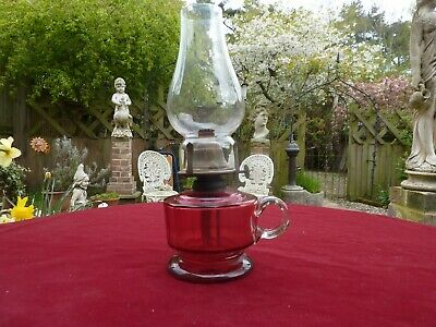 Victorian Cranberry Glass Hand Held Oi Lamp With Chimney.