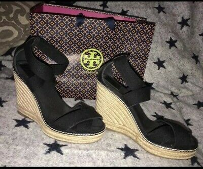 ae502b468218 Tory Burch Womens Espadrilles Platform Wedge Heel Sandals Black Size 9