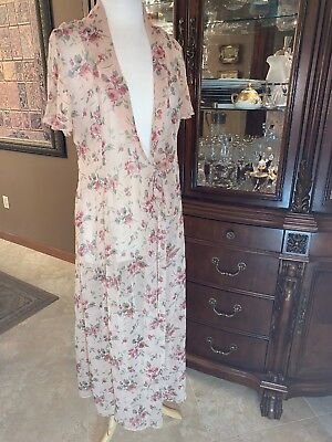 ROBE DRESSING GOWN Nipon Boutique Womens LONG SHEER LOUNGE 8 VTG 1920's Style !!