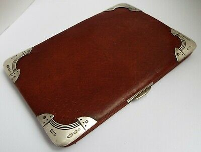 Handsome Large English Antique 1906 Solid Sterling Silver & Tan Leather Wallet