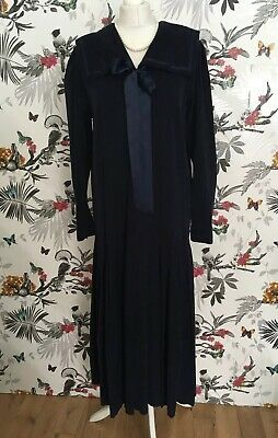 *Vintage 70s Laura Ashley* Navy Cord Sailor Dress Size 14 Downton Abbey Gatsby