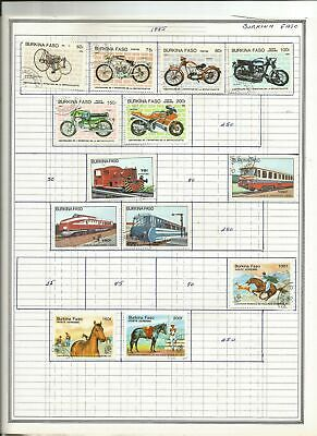 BURKINA FASO 36 Diff. Postage Stamps on album pages (1985-1986) estate sale lot