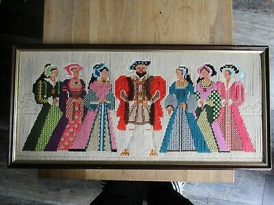 Unusual Framed Tapestry Art . Henry VIII and 6 wives (circa 1960/70s)
