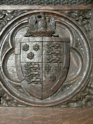 SUPERB 19thc BLACK FOREST OAK CARVED PANEL WITH GOTHIC CREST c.1870