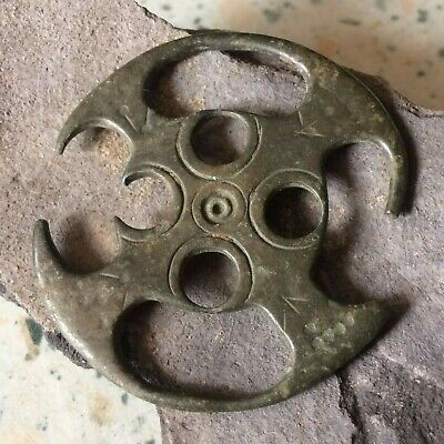 RARE Ancient Big Celtic Bronze Amulet Wheel (Runes, Solar symbols), 2nd-1st c BC