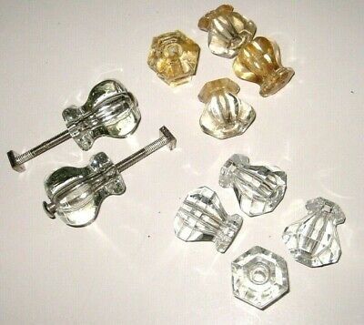 Lot of Antique Vintage 10 Clear & Peach Glass Desk Dresser Drawer KNOBS 2 Sizes