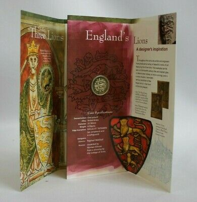 1997 Brilliant Uncirculated £1 Coin For England Three Lions Passant (Hospiscare)