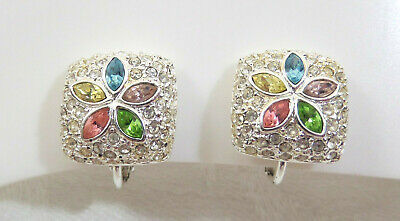 VTG Silver Plated & Colorful Rhinestones Flower Clip-on Earrings Signed Napier