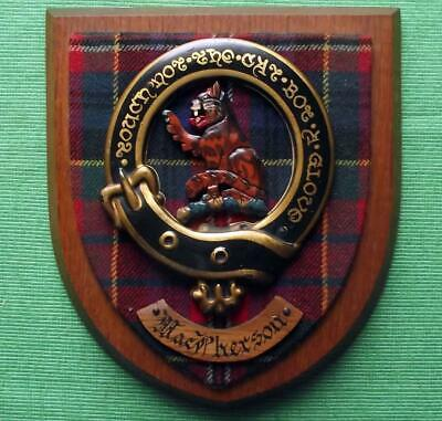 Vintage Old Scottish Carved Oak Clan MACPHERSON Tartan Plaque Crest Shield  y