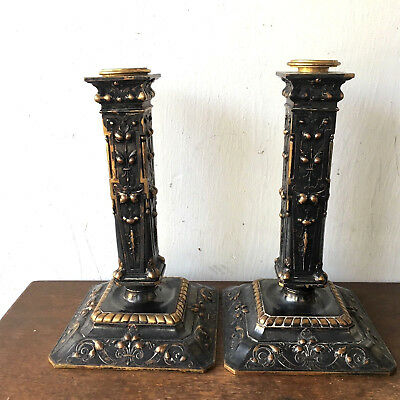 Pair of 2 - Antique French Bronze Barbedienne Candlesticks Candle Holders, 1869