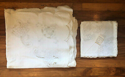Vintage Azores Portugal Floral Hand Embroidered Linen Tablecloth & Napkin Set