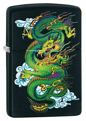 Zippo Unisex Chinese Green Dragon Design in Matte Black, Windproof Lighter New