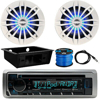 "Kenwood KMR-D375BT Radio, 2 x 6.5"" LED Speakers, Dash Kit, Antenna, Speaker Wire"