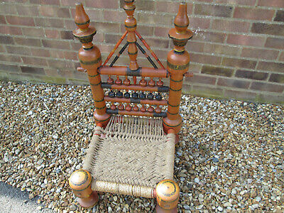 Indian pidha painted low chair - very rare to find in UK