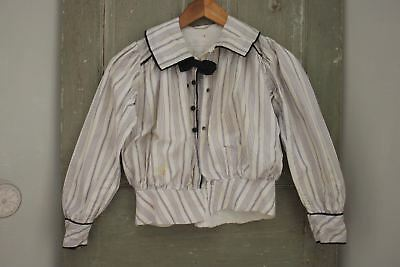 Antique Bodice blouse or shirt French 1900 purple stripes black bow button up